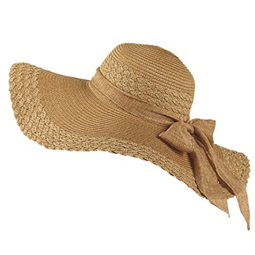 Sunscreen Baby Costume (Aivtalk Womens Large Brimmed Hat Sandbeach Sunscreen Straw Hat Cap with Bowknot Light-Coffee)