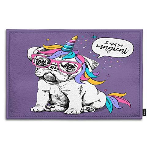 Mugod Dog Indoor/Outdoor Doormat Puppy Bulldog in a Bright Colored Costume of a Unicorn and I Am So Magical Funny Doormats Bathroom Kitchen Decor Area Rug Non Slip Entrance Door Floor Mats, 18