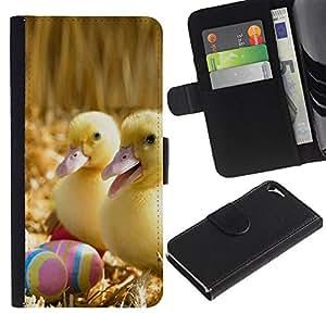 KLONGSHOP // Tirón de la caja Cartera de cuero con ranuras para tarjetas - Patitos Felices - Apple Iphone 5 / 5S //