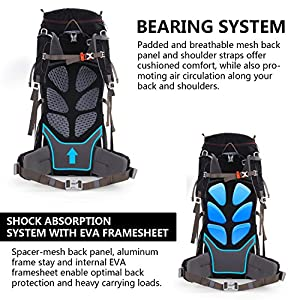 WolfWise 55L+10L Internal Frame Backpack Water-resistant Hiking Backpacking Pack with Rain Cover Black