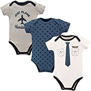 Little Treasure Baby Cotton Bodysuits, Pilot 3Pk Short Sleeve, 9-12 Months