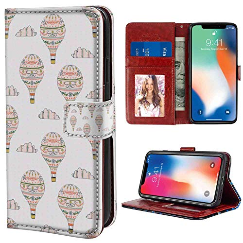 iPhone X, iPhone 10, iPhone Xs Wallet Case, Balloon Ethnic Inspirations with Swirls Hearts and Flowers Flying Hot Air Balloon Pattern Multicol PU Leather Folio Case with Card Holder and ID Coin Slot