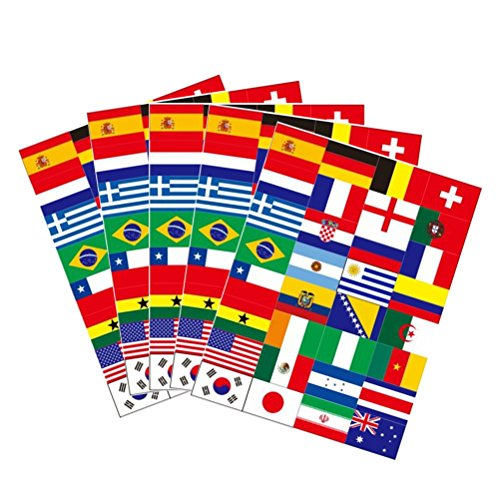 LUOEM 32PCS National Flag Stickers Tattoos 2018 World Cup Top 32 Countries Flags Paper Stickers Body Decals for Football Fans Sports Events 5 Sheets