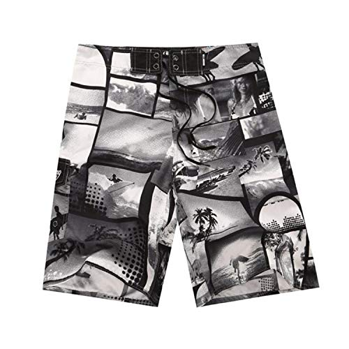 romantico Mens Shorts Surf Board Shorts Summer Sport Beach Homme Bermuda Short Pants Quick Dry Silver Boardshorts,18,38