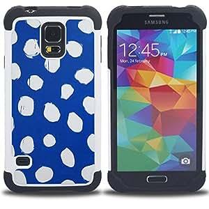 "Hypernova Híbrido Heavy Duty armadura cubierta silicona prueba golpes Funda caso resistente Para SAMSUNG Galaxy S5 V / i9600 / SM-G900 [Spots azul abstracto blanco vestido""]"