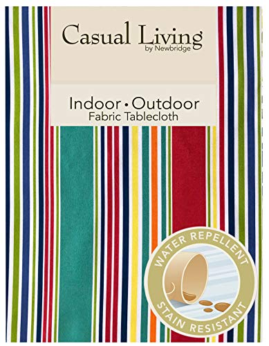 Newbridge Winslow Summer Stripe Indoor/Outdoor Soil Resistant and Water Repellent Fabric Tablecloth - Patio, Picnic, BBQ, Dining Room Table Linens. 60 Inch X 84 Inch Oblong/Rectangular
