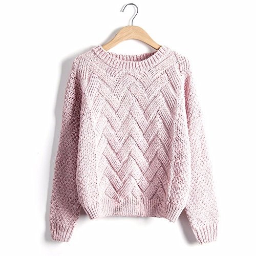 OME Sweater amp;QIUMEI Sweater Size Coat pink Loose wwPq0RnZ