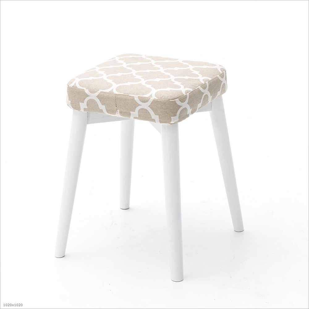 13 SZ JIAOJIAO Solid Wood Stool Fabric Removable And Washable Square Stool Home Upholstery Dressing Stool Stool 33×33×46Cm, 18