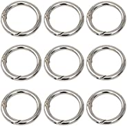 10PCS 28mm/1.1Inch Silver Alloy Spring O Ring - Round Carabiner Snap Clip Trigger Spring Keyring Buckle DIY Or