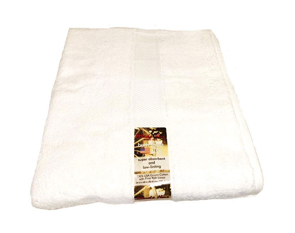 Made Here Made in USA Low -linting and 100% Cotton Bath Collection (Sheet, White)