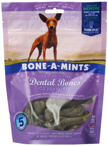 Bone-A-Mints All natural, Wheat-Free Breath Freshening Bone, 5.60-Ounce, Mini, 16-Pack - Mint Dog Chews