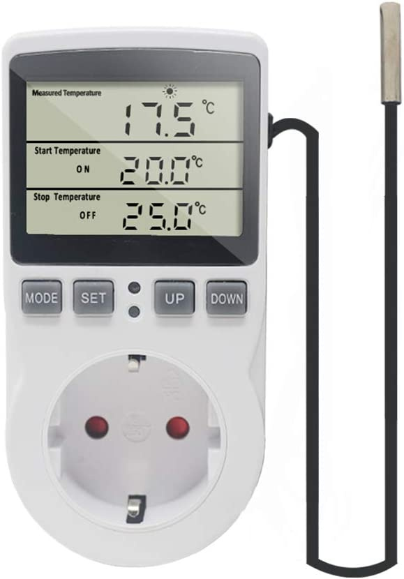 KETOTEK Temperaturregler Steckdose 230V mit Fühler Digital Thermostat Steckdose mit Timer Steckdosenthermostat Timing Schalter für Gewächshaus…