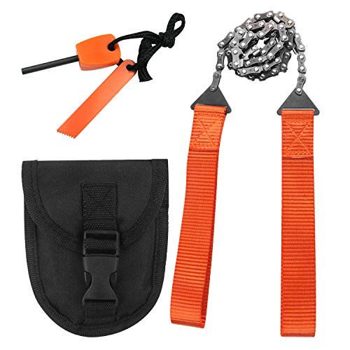 Survival Chainsaw Pocket Hand Saw 29-Inch Folding Survival Chain Saw with Strong Sharp Teeth for Camping Hiking Hunting Gardening and Outdoor Emergency Includes Fire Starter and Carry Pouch