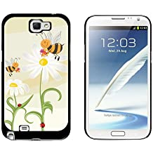 Graphics and More Bumble Bees and Ladybugs on Daisies - Flowers - Snap On Hard Protective Case for Samsung Galaxy Note II 2 - Black