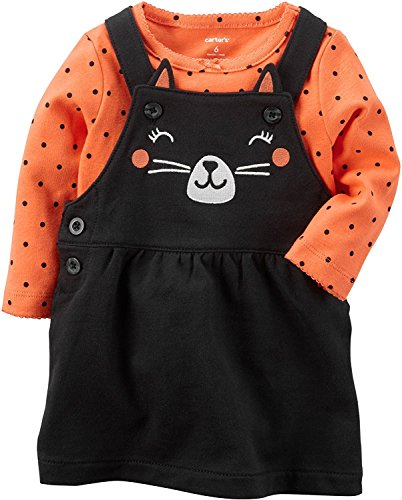 Carters Baby Girls 2 Piece Cat Bodysuit And Jumper Set,Black/orange,3 Months -