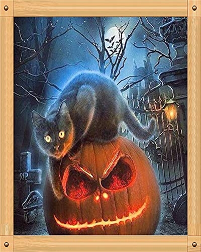 DIY 5D Diamond Painting, Full Drill Embroidery Paint with Diamonds Wall Sticker for Halloween Home Wall Decor - Scared Cat and Big Pumpkin 12 x 16inch