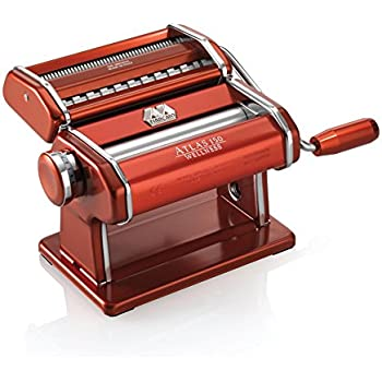 Marcato Atlas Pasta Machine, Made in Italy, Stainless Steel, Red, Includes Pasta Cutter, Hand Crank, and Instructions