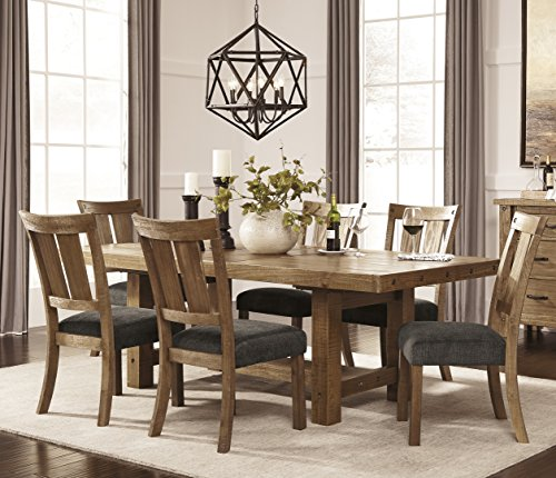 Tarmilr Casual Brown Color Rectangular Dining Room Set, Table, 6 Chairs