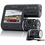 Dual Dash Cam, Front and Rear Dual Camera for Cars, 340 Degree Rotatable Camera,140 Degree Wide Angle Car On Dash Video, G-Sensor, Night Vision, Parking Guard, Loop Recording