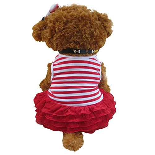 Beautyvan, Fashion Dog Apparel Pet Dog Costume Stripe T-shirt Skirt Puppy Princess Dress (XS, Red) - Sweetie Leopard Costumes
