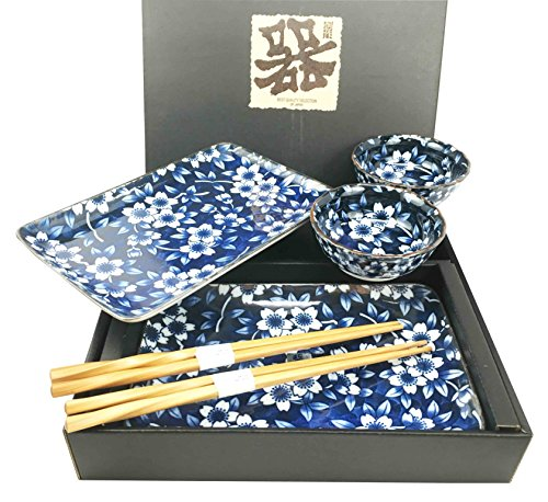 Made in Japan Floral Blossom Blue Motif Ceramic Sushi Dinnerware 6pc Set For Two Consisting Pairs of Sushi Plates Sauce Bowls and Chopsticks Great Housewarming Gift For Sushi Enthusiasts