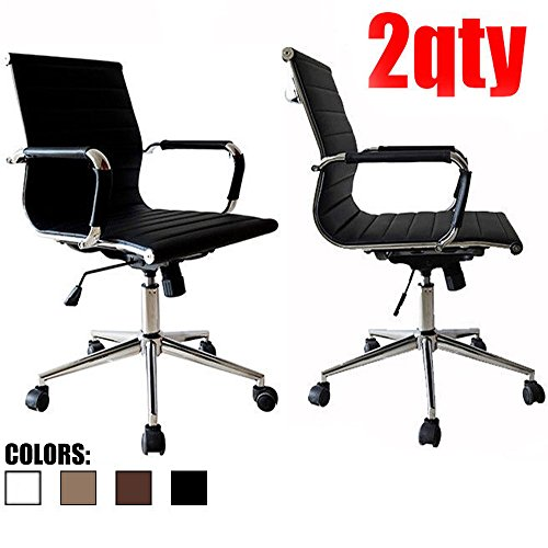 2xhome - Set of Two  - Black- Eames Modern Mid Back Ribbed P
