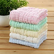 Hosaire Baby Muslin Washcloths Bath Towels- Super Water Absorbent Cotton Baby Wipes Face Towel for the Newborn, Care for babys Sensitive Skin, Perfect for Shower Gift Green