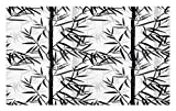 Lunarable Bamboo Doormat, Abstract Forest Leaves Floral Chinese Garden Plants Zen Spa Summer, Decorative Polyester Floor Mat with Non-Skid Backing, 30 W X 18 L inches, Black Charcoal Grey White