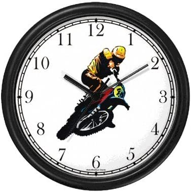 WatchBuddy Motocross Racer Motorcycle Theme Wall Clock Timepieces Black Frame