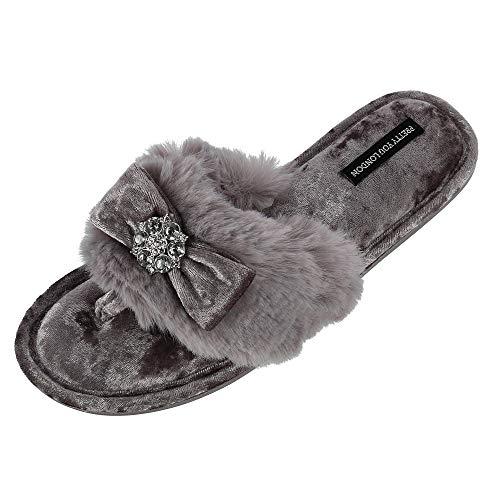 Pretty You London Women's Amelie Thong Slide Slipper with Bow and Rhinestone, Medium (6.5-7.5), - Rhinestone Bow Pretty