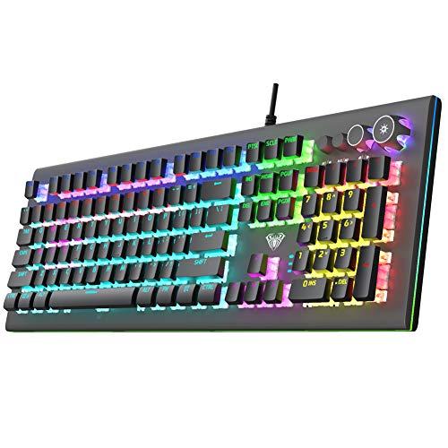 AULA S2096 True Mechanical Gaming Keyboard Multimedia Alloy Lighting Knob 104 Keys Anti-Ghost Marco Programming, Dual…