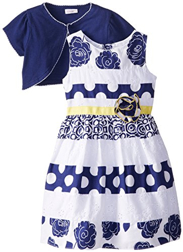 Youngland Little Girls' Mixed Print and Eyelet Dress with...
