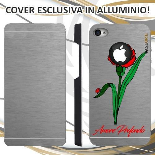 CUSTODIA COVER CASE CASEONE GAROFANO AMORE PER IPHONE 4S ALLUMINIO TRASPARENTE