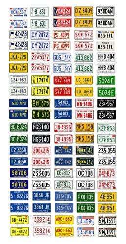 1:43 scale model car assorted USA license plates state tags 1970s (Car License Game Plate)