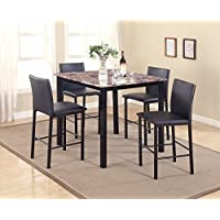 Roundhill Furniture P007BK 5 Piece Citico Counter Height Dining Set with Laminated Faux Marble Top
