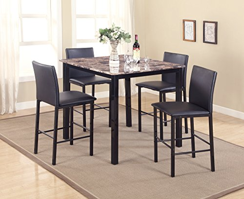 Roundhill Furniture P007BK 5 Piece Citico Counter Height Dining Set with Laminated Faux Marble ()