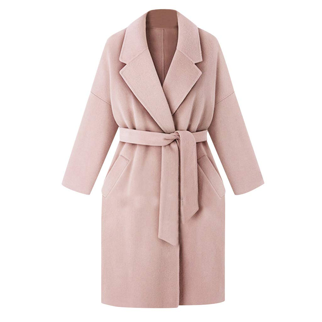YANG-YI Trench Jacket Women Stylish Ladies Winter Lapel Coat Long Overcoat Pink by YANG-YI