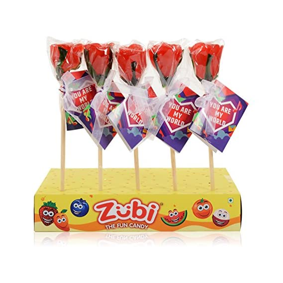 Zubi The Fun Candy Rose Lollies 12 Pieces Per Box, Strawberry Flavour