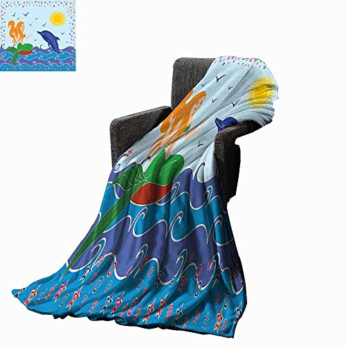 Luckyee Mermaid Decor Throw Blanket Dolphin and Mermaid Girl on The Sea Blue Waves Colorful Summertime Drawing 60
