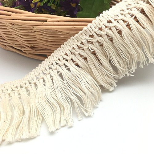 FQTANJU 5 Yards X 6cm Wide Cotton Tassel Fringe in Beige. (6cm)