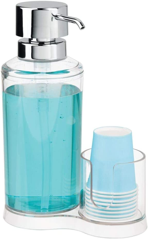 8 Einwegbecher Badzubeh/ör zur Mundhygiene f/ür den Waschtisch mDesign Mundwasser Spender mit Becherhalter durchsichtig und mattsilberfarben Dispenser aus Kunststoff f/ür Mundsp/ülung inkl