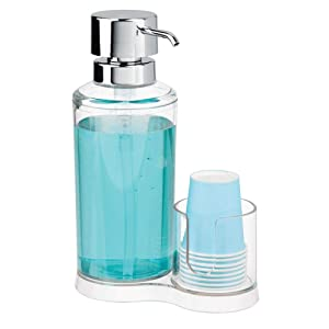 mDesign Modern Plastic Mouthwash Pump Caddy and Disposable Cup Holder - Compact Storage Organizer for Bathroom Vanity, Countertop, Cupboard, Includes 8 Paper Cups - Clear/Chrome