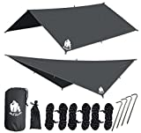 (US) CHILL GORILLA 10' hammock rain fly tent tarp waterproof camping shelter. Lightweight ripstop nylon & not cheap polyester. Stakes included. Survival gear. Backpacking camping ENO accessory. Grey