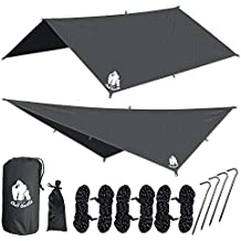 """CHILL GORILLA 10' HAMMOCK WATERPROOF RAIN FLY TENT TARP 170"""" CENTERLINE. Lightweight RIPSTOP NYLON & Not Cheap Polyester. Stakes Included. Survival Gear Backpacking Camping ENO Accessory"""