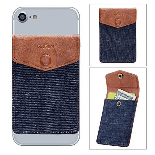 - FRIFUN Cell Phone Wallet Ultra-Slim Self Adhesive Credit Card Holder Stick on Wallet Cell Phone Leather Wallet for Smartphones RFID Blocking Sleeve Covers Credit Cards (Dark Blue)