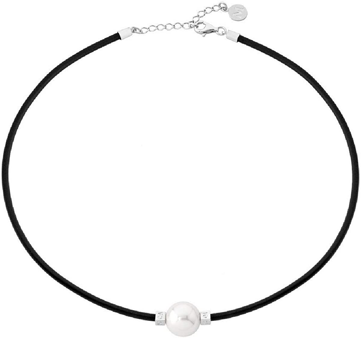 Majorica - Collar corto de cuero, 45 cm, con perla blanca, 14 mm, Negro