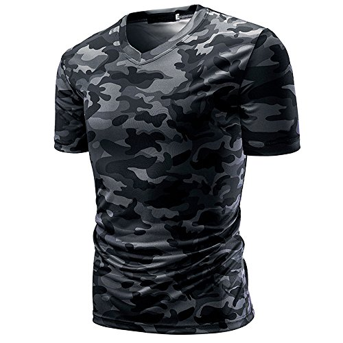 - iLOOSKR T-Shirt Top Men's Camouflage Print V Neck Pullover Short Casual Tees Blouse(Gray,3XL)