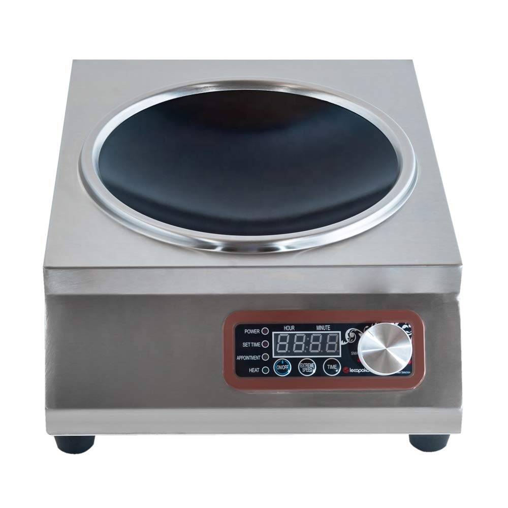 NB.ROSE 3500 Watts Commercial Fry Induction Cooktop Concave Surface Wok Cooker With Knob Control - All stainless steel Material - 110V US Plug by NB.ROSE