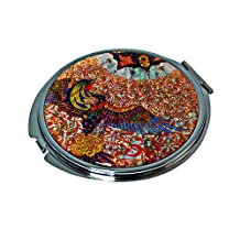Mother of Pearl Phoenix Design Double Compact Cosmetic Makeup Magnifying Purse Pocket Handbag Mirror