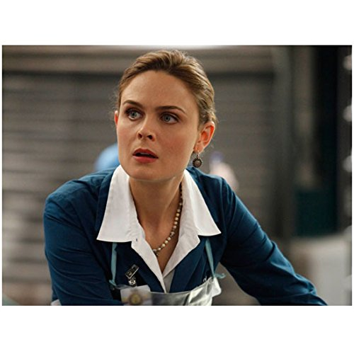 Bones (8 inch by 10 inch) PHOTOGRAPH Emily Deschanel Leaning Forward Blue Lab Coat Over White Blouse Apron kn